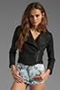 Image 2 of krisa Shrunken Coated Motorcycle Jacket in Black