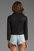 Image 3 of krisa Shrunken Coated Motorcycle Jacket in Black