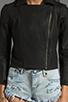 Image 4 of krisa Shrunken Coated Motorcycle Jacket in Black