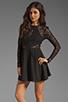 Image 1 of keepsake Walking on a Dream Long Sleeve Dress in Black/Black Lace
