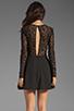Image 4 of keepsake Walking on a Dream Long Sleeve Dress in Black/Black Lace