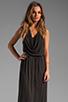 Image 1 of LA Made Draped Collar Maxi Dress in Black