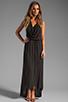 Image 2 of LA Made Draped Collar Maxi Dress in Black