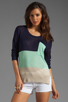Image 1 of LA Made Colorblock Long Sleeve Sweater in Galaxy/Minty