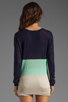Image 2 of LA Made Colorblock Long Sleeve Sweater in Galaxy/Minty