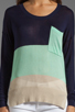 Image 3 of LA Made Colorblock Long Sleeve Sweater in Galaxy/Minty