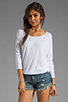 Image 1 of LA Made Supima Long Sleeve Boat Neck Tee in White