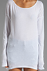 Image 3 of LA Made Supima Long Sleeve Boat Neck Tee in White