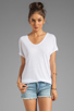 Image 1 of LA Made Viscose Jersey Double V Slouch Tee in White