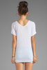 Image 2 of LA Made Viscose Jersey Double V Slouch Tee in White