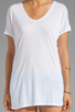 Image 3 of LA Made Viscose Jersey Double V Slouch Tee in White