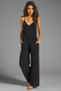 Image 2 of Line & Dot Deep V Jumpsuit in Black