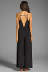Image 4 of Line & Dot Deep V Jumpsuit in Black
