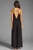 Image 4 of Line & Dot Deep V Jumpsuit in Black