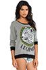 Image 2 of Lauren Moshi Raina Color Leopard Medallion Sweater in Grey/Black