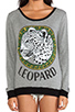 Image 4 of Lauren Moshi Raina Color Leopard Medallion Sweater in Grey/Black