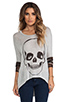 Image 1 of Lauren Moshi Deb Skull Face Contrast Cuff Asymmetrical Sweater in Heather Grey/Camo
