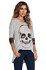Image 2 of Lauren Moshi Deb Skull Face Contrast Cuff Asymmetrical Sweater in Heather Grey/Camo