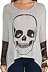 Image 4 of Lauren Moshi Deb Skull Face Contrast Cuff Asymmetrical Sweater in Heather Grey/Camo