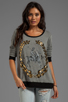 Image 1 of Lauren Moshi Raina Foil LM Crest Pullover Sweater in Grey/Black