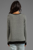 Image 2 of Lauren Moshi Raina Foil LM Crest Pullover Sweater in Grey/Black