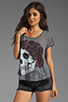Image 1 of Lauren Moshi Audrey Color Skull with Rose Scoop Tee in Heather Grey