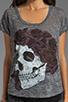 Image 3 of Lauren Moshi Audrey Color Skull with Rose Scoop Tee in Heather Grey