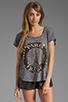 Image 1 of Lauren Moshi Audrey Foil Paris Scoop Tee in Heather Grey