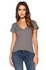 Image 1 of LNA Short Sleeve Deep V Tee in Heather Grey
