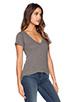 Image 2 of LNA Short Sleeve Deep V Tee in Heather Grey