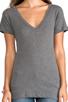 Image 4 of LNA Short Sleeve Deep V Tee in Heather Grey