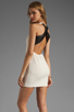 Image 1 of Lovers + Friends Shooting Stars Dress in Cream/Black Faux Leather