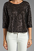 Image 3 of Lovers + Friends Intuition Blouse in Black Sequin