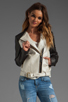 Image 2 of Mackage Belle Distressed Leather Jacket in Bone