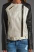 Image 4 of Mackage Belle Distressed Leather Jacket in Bone
