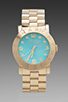 Image 1 of Marc by Marc Jacobs Amy Watch with Turquoise Face in Gold