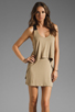Image 1 of Mason by Mason by Michelle Mason Leather Strap Tank Dress in Camel