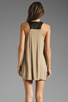 Image 4 of Mason by Mason by Michelle Mason Leather Strap Tank Dress in Camel