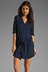 Image 1 of Michael Stars Justine 3/4 Sleeve Split Neck Drawstring Waist Dress in Night Sky