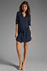 Image 2 of Michael Stars Justine 3/4 Sleeve Split Neck Drawstring Waist Dress in Night Sky