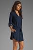 Image 3 of Michael Stars Justine 3/4 Sleeve Split Neck Drawstring Waist Dress in Night Sky