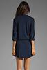 Image 4 of Michael Stars Justine 3/4 Sleeve Split Neck Drawstring Waist Dress in Night Sky