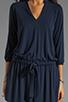 Image 5 of Michael Stars Justine 3/4 Sleeve Split Neck Drawstring Waist Dress in Night Sky