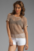 Image 1 of Michael Stars Beachcomber Cotton Mesh Short Sleeve Wide Neck Dolman Pullover in Khaki