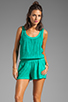 Image 1 of Michael Stars Slub Jerse/Voile Mix Sleeveless Scoop Neck Romper in Beetle