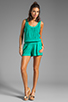 Image 2 of Michael Stars Slub Jerse/Voile Mix Sleeveless Scoop Neck Romper in Beetle