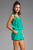 Image 3 of Michael Stars Slub Jerse/Voile Mix Sleeveless Scoop Neck Romper in Beetle