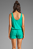Image 4 of Michael Stars Slub Jerse/Voile Mix Sleeveless Scoop Neck Romper in Beetle