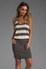 Image 1 of MILLY March Knits Reverse Jersey Stripe Blouson Dress in Cinder/Bone