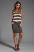 Image 2 of MILLY March Knits Reverse Jersey Stripe Blouson Dress in Cinder/Bone